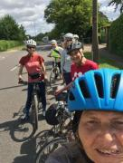 cyclists with leader on Works Road. Letchworth
